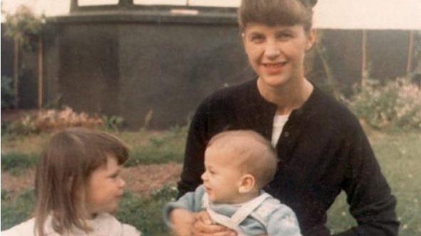 (Sylvia Plath with her children, outside Court Green, North Tawton, 1962)
