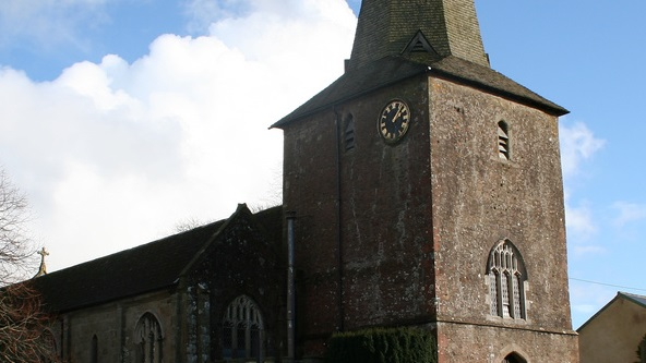 (St. Peter's Church, North Tawton, where Plath took the 'Poor Box' from in 1962)